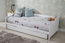 Wooden Bed with Trundle 2 in 1 &  Single Mattresses Sleepover Daybed bedroom