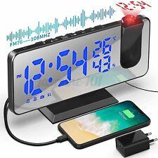Funk Radiowecker M/ Projektion LED USB FM Digital Dimmbar Tischuhr Alarm Funkuhr