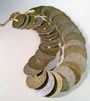 Vintage Heavy Metal Disc Necklace Choker Silver Gold Tone Steampunk Brutalist 20
