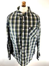 TIMBERLAND Mens Shirt XXL Green White Blue Check Cotton Slim Fit