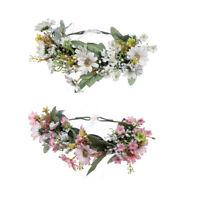 Women's Flower Crown Headband Hair Wreath Garland Ribbon Wedding Beach Hairband