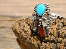 ring turquoise coral size 8 Spectacular Sterling silver Navajo ladies