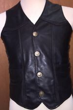 """M C Leathers Vest Buffalo Nickels Concealed Inner Pocket Side Laced EUC 36"""""""