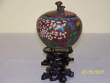 Chinese Qing Dy Cloisonne Censor Urn Vase w/ Bronze Foo Dog Lid