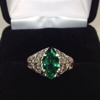 1ct Marquise Cut Green Emerald Wide Filigree Engagement Ring 14k White Gold Over