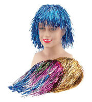 TINSEL WIGS IN ALL COLOURS FANCY DRESS COSTUME ACCESSORIES