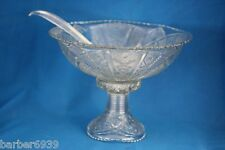 DEPRESSION MCKEE CLEAR GLASS CONCORD 12 PC. PUNCH BOWL W/STAND  12 CUPS & LADLE