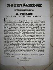 H649-STATO PONTIFICIO-PESARO ASSEMBLEA COSTITUENTE ROMA 1849