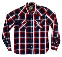 Vintage Levis Western Mens Medium Plaid Pearl Snap Long Sleeve Button Up Shirt