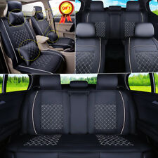 US Auto Car Seat Cover Front & Rear PU Leather 5-Seats W/Pillow Size M 4 Seasons