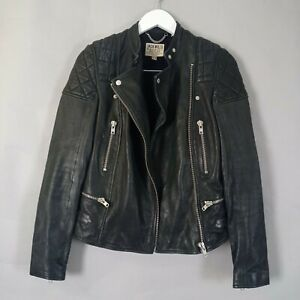 Jack Wills Ladies Biker Jacket UK 8 Black Leather Retro Aviator Smart Casual