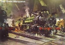 Cuneo Fine Arts - Over powering Locomotives on Shed  by Terence Cuneo