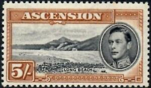 Ascension 1944 KGVI  5/- Black & Yellow-Brown SG.46a Mint (Hinged) Cat:£40  P.13