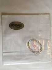 Monogrammed Handkerchief with pink letter N in floral wreath. new in packet