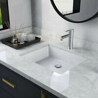 "DeerValley 19"" x 15"" White Ceramic Rectangle Undermount Vanity Bathroom Sink"