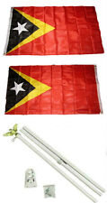 3x5 East Timor Leste 2ply Flag White Pole Kit Set 3'x5'