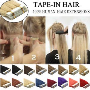 Tape in Hair Extensions Invisible Glue Skin Weft Real Remy Indian Human Hair UK