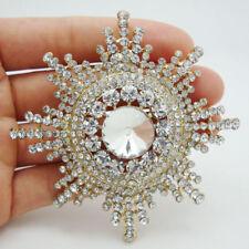 Gold Tone Elegant Snowflake Flower Bride Brooch Pin Clear Rhinestone Crystal