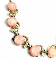 Coro signed thermoset pink confetti Lucite and rhinestone choker necklace mid ce