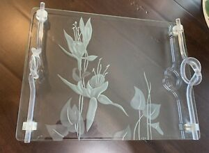 VINTAGE DOROTHY THORPE GLASS VANITY TRAY ETCHED FLOWERS LUCITE HANDLES MCM