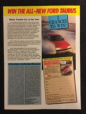 Vintage 1986 Original Print Ad Win A FORD TAURUS Motor Trend's Car of the Year