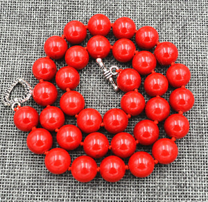 """New 10mm Red Marine Coral Necklace 18"""" Tibetan silver love clasps"""