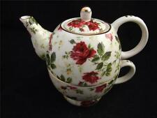 Regal Tea for One Ceramic Cup and Teapot Set - Floral Design.