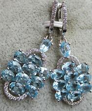 Ohrringe 4,2 cm., Aquamarinen, Silber,