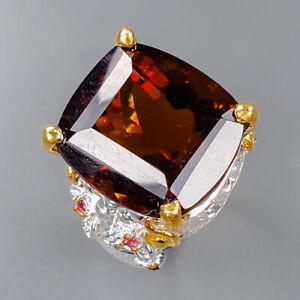 20ct+ Handmade Cognac Quartz Ring Silver 925 Sterling  Size 8.5 /R158602