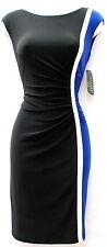 Ralph Lauren black blue stretchy fabric office wear to work knee lenght dress