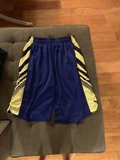 Nike Mens Dark Blue And Neon Green/yellow Basketball Shorts