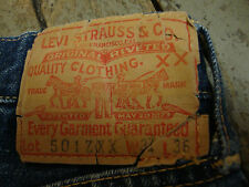 Original 1950s Levis 501 Zxx Big E Redline Rivets Rockabilly Hot Rod Dd186