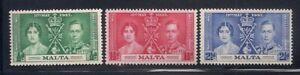 Malta   1937   Sc #188-90   Coronation   MLH   OG   (5026-2)