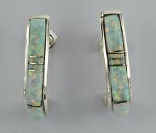 Zuni Handmade Sterling Silver Half Hoop Inlay Opal Earrings- Shareldene Lonjose