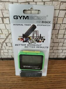 GYMBOSS miniMAX INTERVAL TIMER & STOPWATCH GREEN YELLOW SOFTCOAT ,new