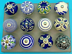 Ceramic Door/Drawer Knobs Beautiful Glazed White & Blues Sold individually