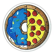 Cute Dough & Pizza Yin Yang Food Embroidered Patch Iron On Applique Peace Donut