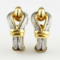 18k Yellow and White Gold Cable Loop Clip-On Earrings w/ Certificate