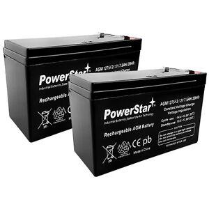 2 Pack - 12V 7.5Ah Battery(s) Replace 6-DW-7 12V 7AH SHAOXING HUITONG - F1 Term.