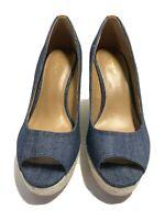 Coach Milan Wedge Heel Peep Toe Espadrilles Dark Denim Blue Shoes Size 7 B Us