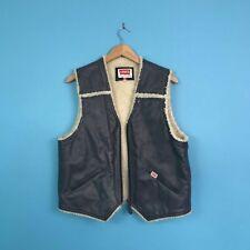 Vintage Levi's Leather Sheepskin Shearling Sherpa Gilet Trucker Waistcoat L