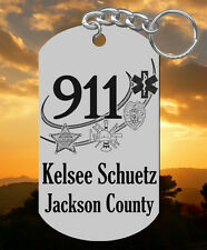 New Steel 911 DISPATCHER Keychain Gift, Engraved FREE w' NAME! Telecommunicator