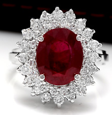 8.50 Carats Red Ruby and Natural Diamond 14K Solid White Gold Ring
