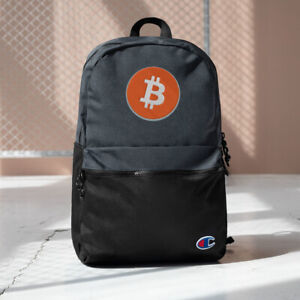 Bitcoin BTC Crypto Cryptocurrency Themed Embroidered Champion Backpack
