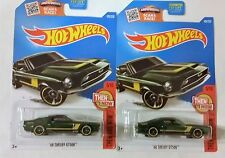 2016 Hot Wheels '68 Shelby GT500 No. 105 British Racing Green - Set of 2 - NEW