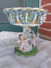 ORNATE ANTIQUE GERMANY APPLIED ROSES VIOLETS PORCELAIN CHERUB COMPOTE