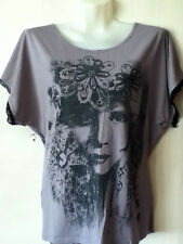 HARDLY USED*LOVELY LADIES SOFT GREY* BACK LACE PANEL LONG TOP BY GEORGE