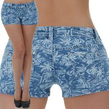 malucas Damen Jeans Hose Hotpants Shorts Bermuda Kurze Hüfthose Capri Hüftjeans
