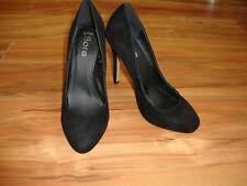 NEW Elegant Fiore Black Suede Court Shoes UK 3