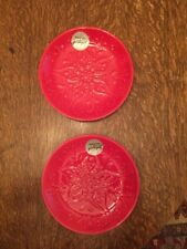 """Set of 2, 8"""" Red Ceramic Portuguese Plates, NOCAL, LDA Handcrafted In Portugal"""